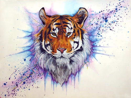 Natasha Alexa Kumar, Tiger, acrylic on paper