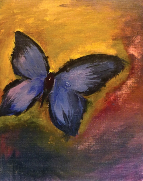 Ashley Min, Butterfly, acrylic on canvas