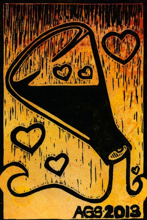 Drew Stone, Love Potion, block print
