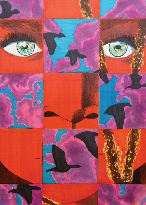 Esther Colombine Utley, Volando, mixed media