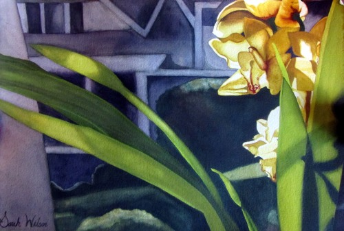Sarah Rose Wilson, Yellow Orchid, watercolor